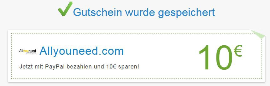 Allyouneed mit 10€ PayPal Gutschein ab 59,99€