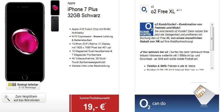 Apple iPhone 7 Plus + O2 Allnet + SMS Flat + 8GB LTE Daten (min. 1GB) für 54,99€ mtl.