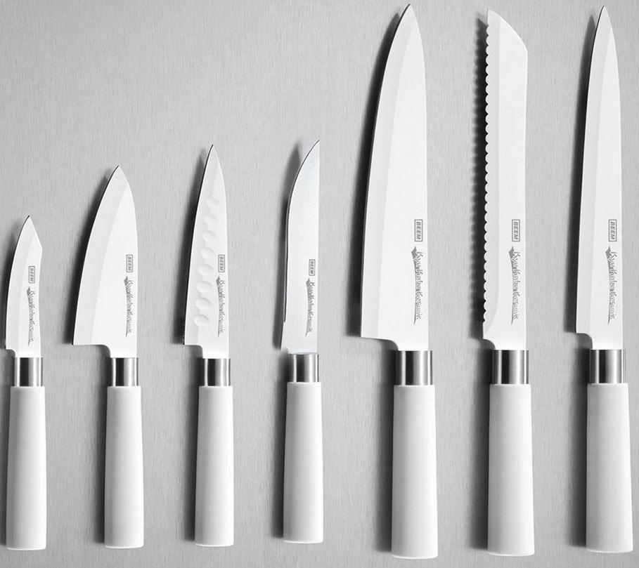 B eem Keramik Messer set BEEM Kyu Kabu Keramik V2   8 teiliges weißes Messerset mit Block für 25,49€
