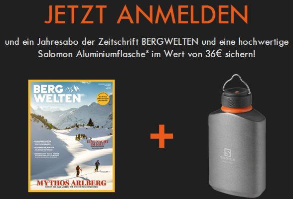 Zum Salomon Newsletter anmelden und Jahresabo Bergwelten sowie Aluflasche gratis erhalten