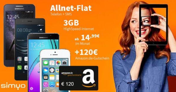 Simyo Allnet Flat mit 3GB + Smartphone + 120€ Amazon.de Gutschein* ab 14,99€ mtl.