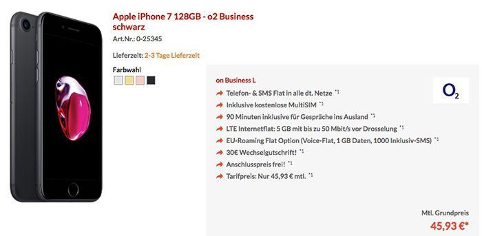o2 Business L Tarif mit 5GB LTE + iPhone 7 128GB für 45,93€ mtl.