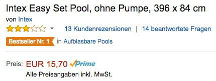Schon vorbei! Intex Easy Set Pool ohne Pumpe 396 x 84 cm ab 15,70€ (statt 56€)