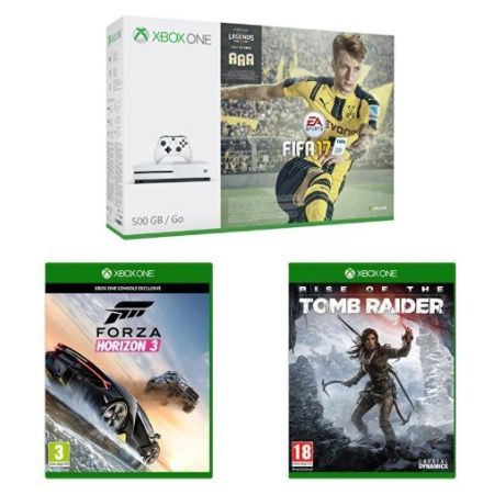 Xbox One S 500GB + Fifa 17 + Forza Horizon 3 + Rise of the Tomb Raider für 285€ (statt 353€)