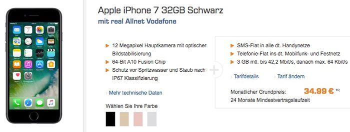 iPhone 7 32GB für 49€ (statt 699€) + Vodafone Allnet Flat mit 3GB für 34,99€ mtl.