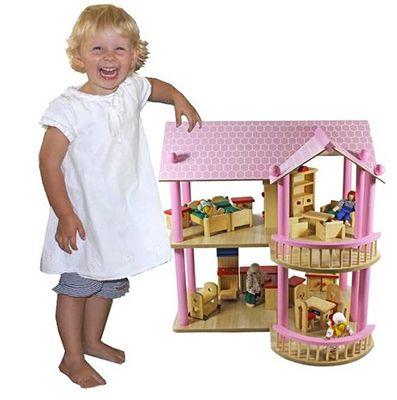 XL Puppenhaus Villa aus Holz inkl. Möbel & Puppen für 44,95€ (statt 60€)