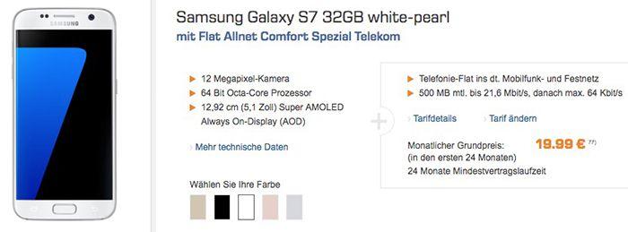 Samsung Galaxy S7 32GB für 1€ (statt 470€) + Telekom Allnet mit 500MB oder Vodafone Allnet mit 1GB für 19,99€ mtl.