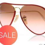Großer Sonnenbrillen Sale bei Sunglasses – z.B. Ray-Ban 3025JM Rot für 58€ (statt 67€)