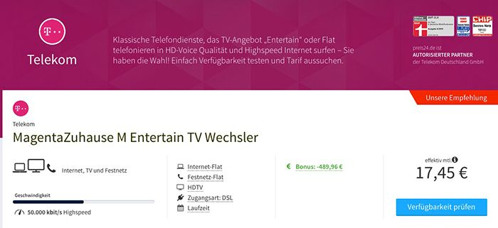 Telekom MagentaZuhause M Entertain TV ab effektiv 17,45€ mtl.