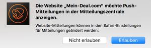 Mein Deal Browser Benachrichtigungen + Gewinnspiel