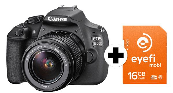 Canon EOS 1200D + 18 55mm Objektiv + 16GB Eyefi Speicherkarte für 299€ (statt 365€)