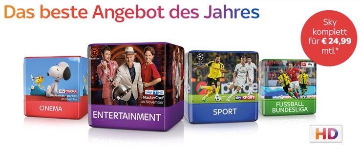 Sky Komplett Paket + HD für 24,99€mtl.   nur für ehemalige Kunden!