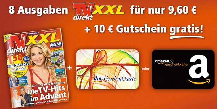 8 Ausgaben TVdirekt XXL für 9,60€ + 10€ Gutschein