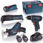 Bosch 4-Tool 10,8V Quattro Pack (Akkuschrauber, Cutter, Säge, Lampe) + Lader + L-Boxx für 224,99€