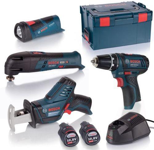 Bosch 4 Tool 10,8V Quattro Pack (Akkuschrauber, Cutter, Säge, Lampe) + Lader + L Boxx für 224,99€