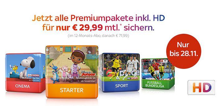 Sky Komplett (3 Premium Pakete + HD) ab 29,99€ mtl.