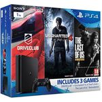 PlayStation 4 1TB Slim + Uncharted 4 + The Last of us + Driveclub für 298,56€ (statt 379€)