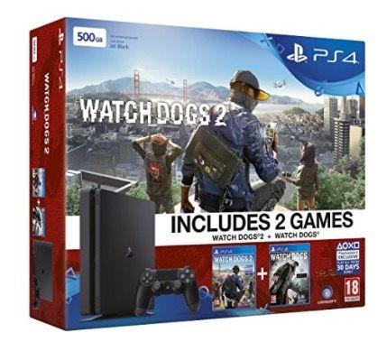PlayStation 4 500GB Slim + Watchdogs + Watchdogs 2 für 240,16€ (statt 300€)