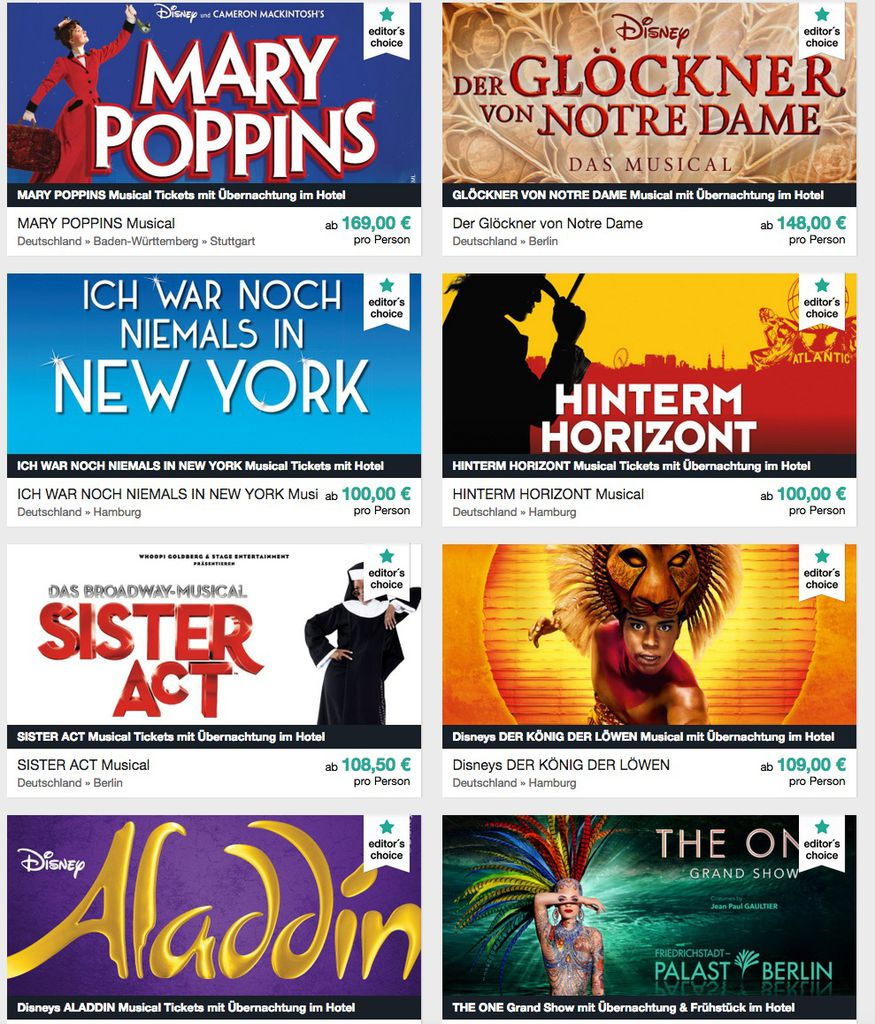 Viele coole Musicals inkl. Hotel Angebote @Travelcircus