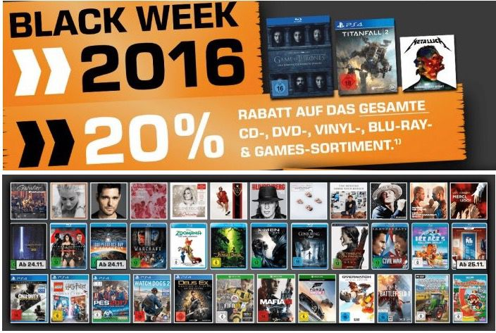20% auf Musik, Filme & Games bei Saturn