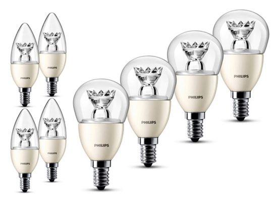 4er Pack Philips LED Lampen E14 3,5W oder 6W dimmbar für 14,99€ (statt 20€)