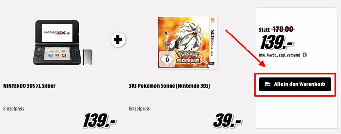 Nintendo 3DS XL + Pokemon Mond oder Pokemon Sonne ab 139€ (statt 210€)