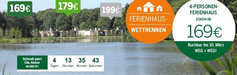 Center Parcs Ferienhaus Wettrennen z.B. 169€ für 4 Personen & 4 Nächte