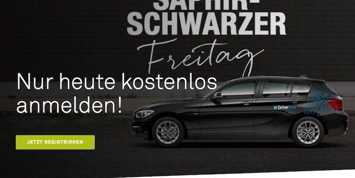 Nur heute zum Black Freitag! DriveNow Anmeldung 0€ statt 29€