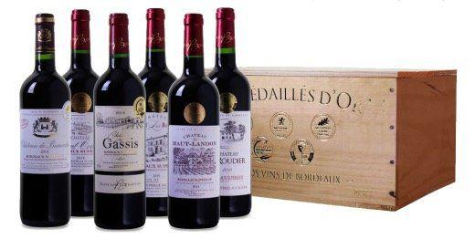 6 Flaschen prämierter Bordeaux Superieur Wein in Holzkiste für 38,94€   alle Weine mit Gold prämiert!