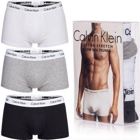 3er Pack Calvin Klein Boxershorts (Weiß, Schwarz, Grau) für 20,99€