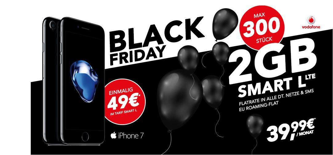 Black Freitag Sale iPhone 7 32GB + Vodafone Allnet SMS  Flat mit 2GB LTE für 39,99€ mtl.