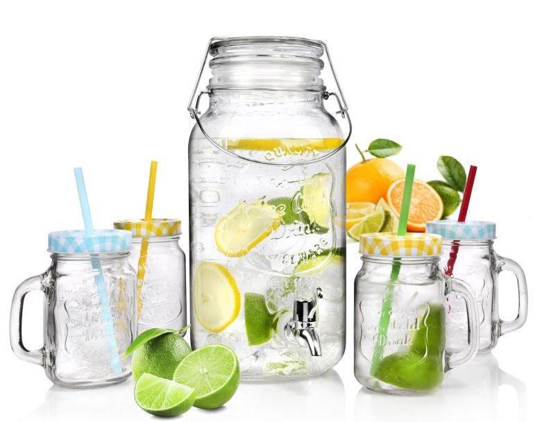 Vintage Getränkeset   5 teilig mit Gläsern und 3,7 Liter Getränkespender für nur 19,99€