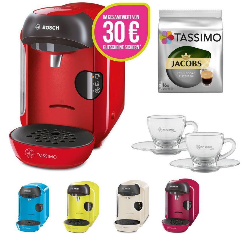 Bosch TASSIMO VIVY +30 EUR Gutschein TASSIMO ViVY Maschine + 2 WMF Espresso Gläser + Jacobs Ristretto Kapseln + 30€ Gutschein für nur 34,99€
