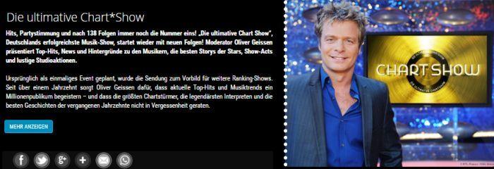 """Freikarten für """"Die ultimative Chartshow″ am 9. oder 13.November 2018"""