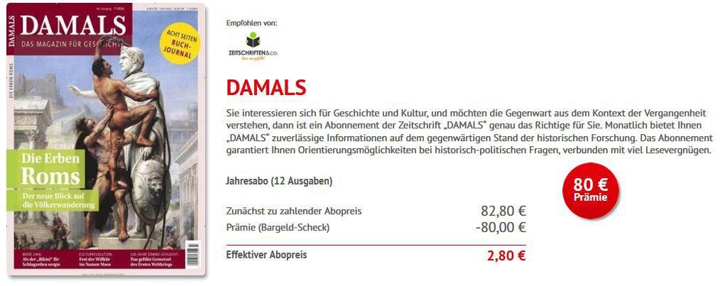 Damals Abo gratis DAMALS Jahresabo nur 2,80€ statt 82,80€!   HOT!
