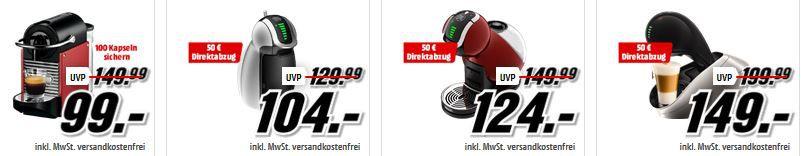 Media Markt Tiefpreisspätschicht mit Kaffemaschinen und Dolce Gusto Kapseln ab 3,99€