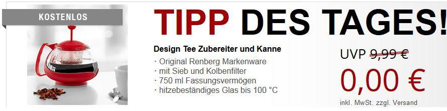 RENBERG Design Tee Zubereiter und Kanne + 2 Gratisartikel für 5,97€