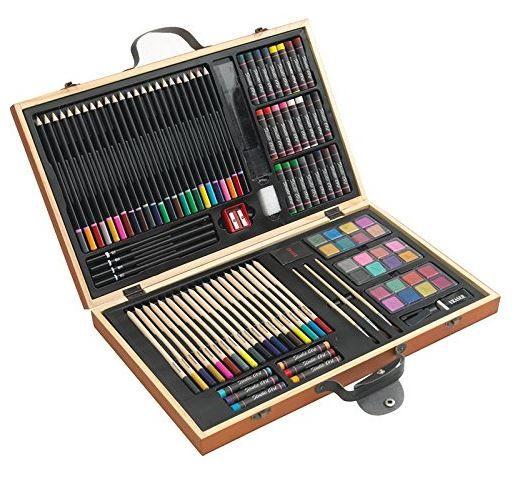 Farbmalkasten Holzfarbmalkasten mit 88 Teilen für nur 17,95€