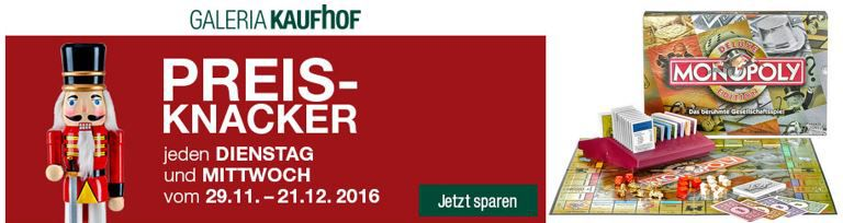 Galeria Preisknacker 20% Rabatt auf die Marken LEGO Duplo & Schleich + Monopoly Deluxe für nur 19,99 €
