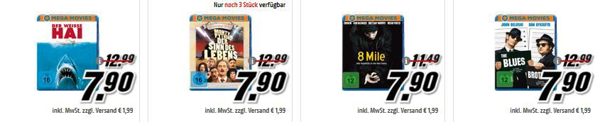 Ha i Media Markt: Mega Movies 3 Filme auf Blu ray ab 15,80€ oder DVD ab 9,80€