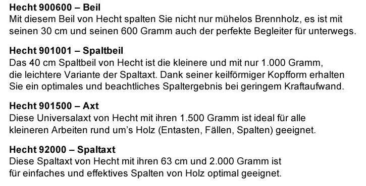 Hecht 4er Axt Set: Beil, Spaltbeil, Axt und Spaltaxt für zusammen 39€