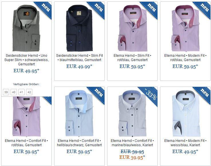 Hemden.de Aktion: 2 Markenhemden für 67,90€