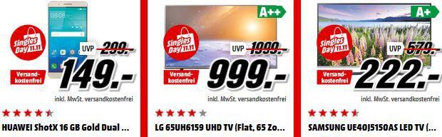 Zu Ende! Media Markt 11.11. Aktion mit 11 Artikeln: z.B. LG 65UH6159   65″er UHD TV für 999€