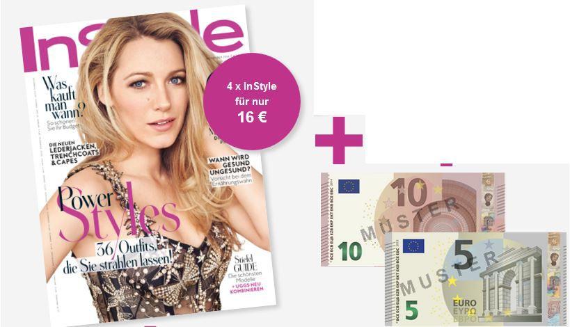 InStyle Fashion Magazin mini Abo dank Cashback 4 Ausgaben für nur 1€