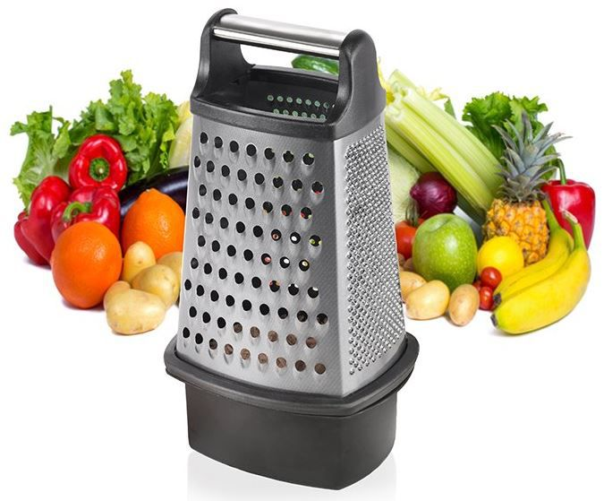 Küchenreiben Set Vierkant Reibe mit verschließbarem Auffangbehälter für nur 7,99€ (statt 13€)