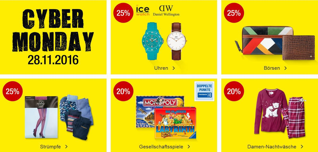 Kaufhof Cybermonday Galeria Kaufhof Cyber Monday Tagesangebote: z.B. 20% Rabatt auf Gesellschaftsspiele, 25% Rabatt auf ice Uhren uvm. bis Mitternacht