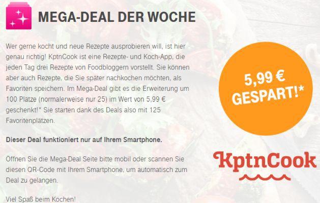 Nur für Telekom Kunden: 100 Favoritenplätze für KptnCook (Wert 5,99€) gratis