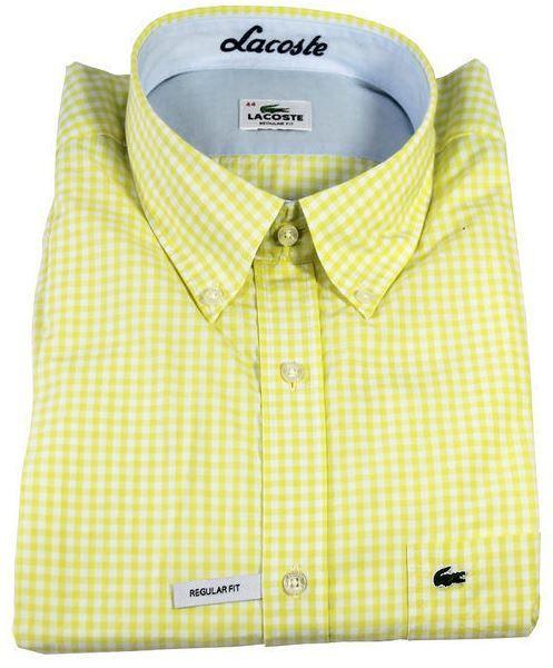 Lacoste Herrenhemd langarm gelb/weiß für 29,99€