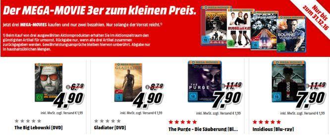 Media Markt: Mega Movies 3 Filme auf Blu ray ab 15,80€ oder DVD ab 9,80€