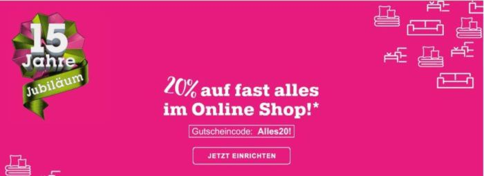 Mömax Cyber Mondy mit 20% auf das gesamte Online Only Sortiment